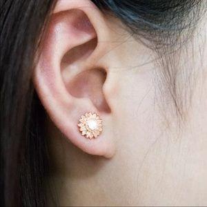 New rose gold sunflower rhinestone earrings unisex